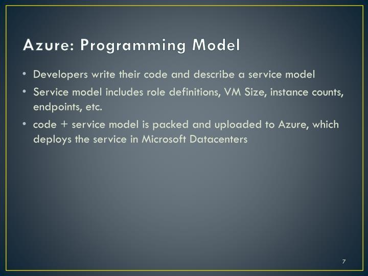 Azure: Programming Model