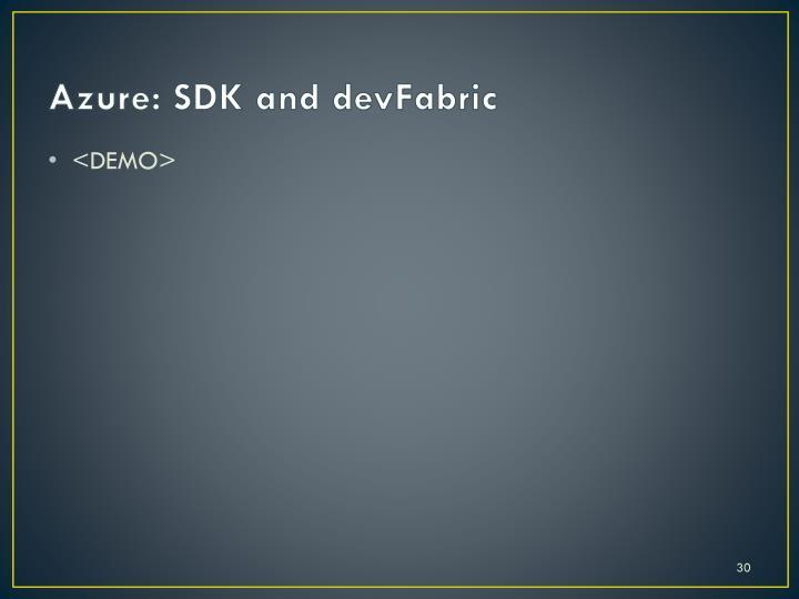 Azure: SDK and