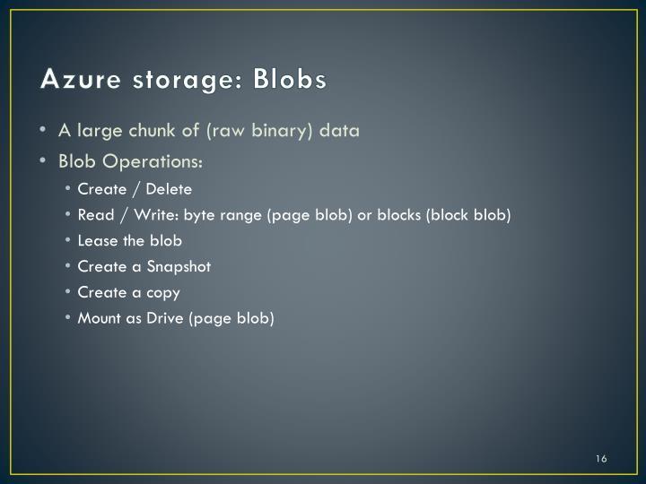 Azure storage: Blobs