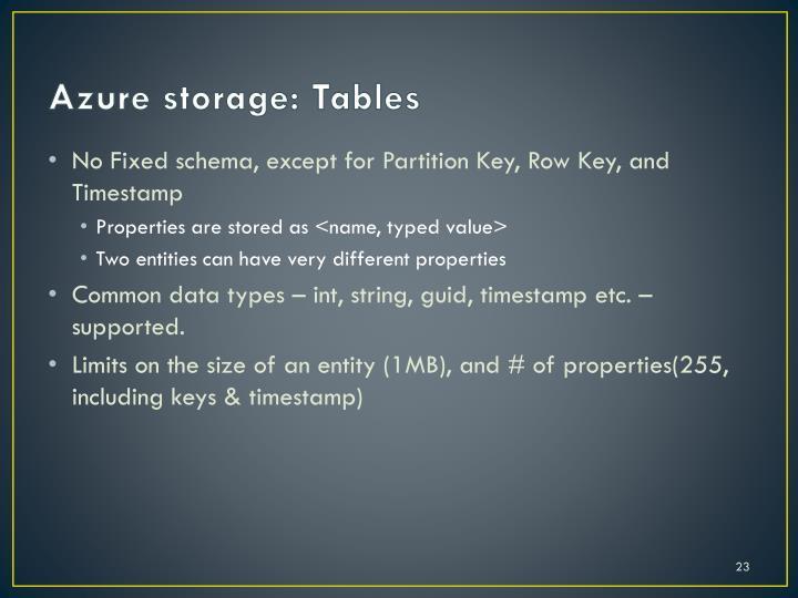 Azure storage: Tables