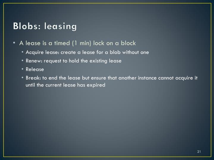 Blobs: leasing