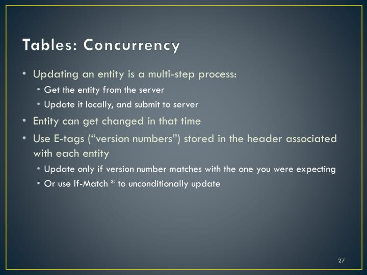 Tables: Concurrency