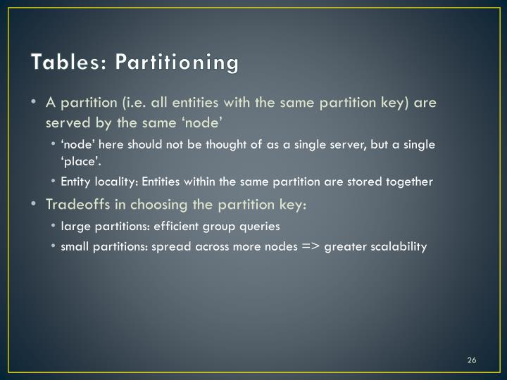 Tables: Partitioning
