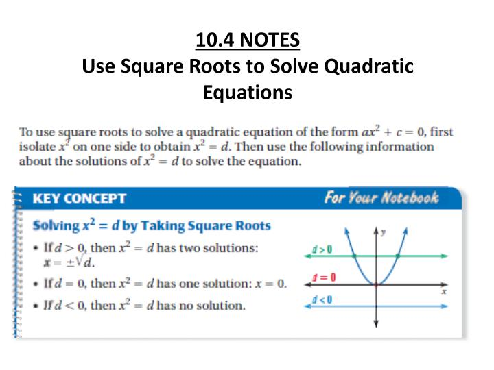 Ppt 104 Notes Use Square Roots To Solve Quadratic Equations. 104 Notes Use Square Roots To Solve Quadratic Equations. Worksheet. 10 4 Worksheet Solving Quadratic Equations By Using Square Roots At Clickcart.co