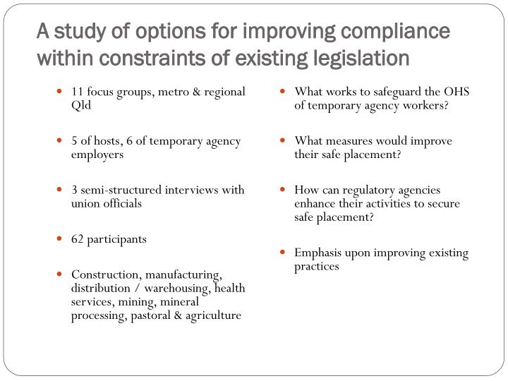 A study of options for improving compliance within constraints of existing legislation