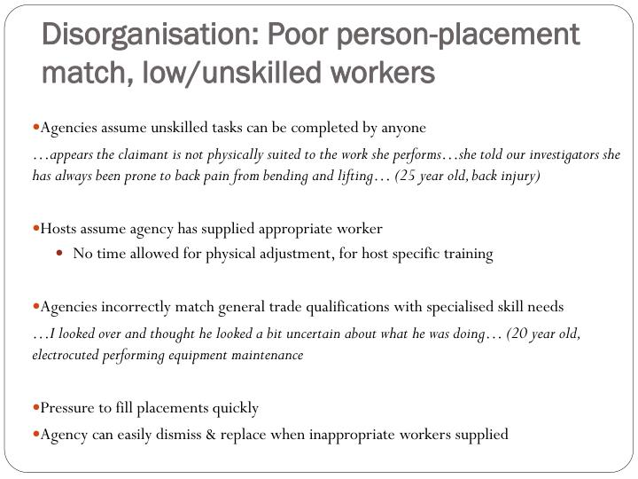 Disorganisation: Poor person-placement match, low/unskilled workers