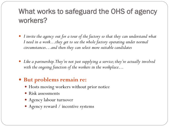 What works to safeguard the OHS of agency workers?