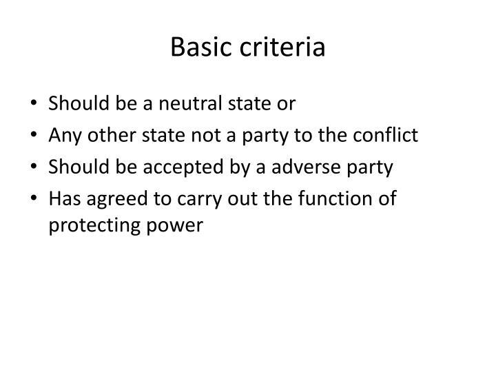 Basic criteria