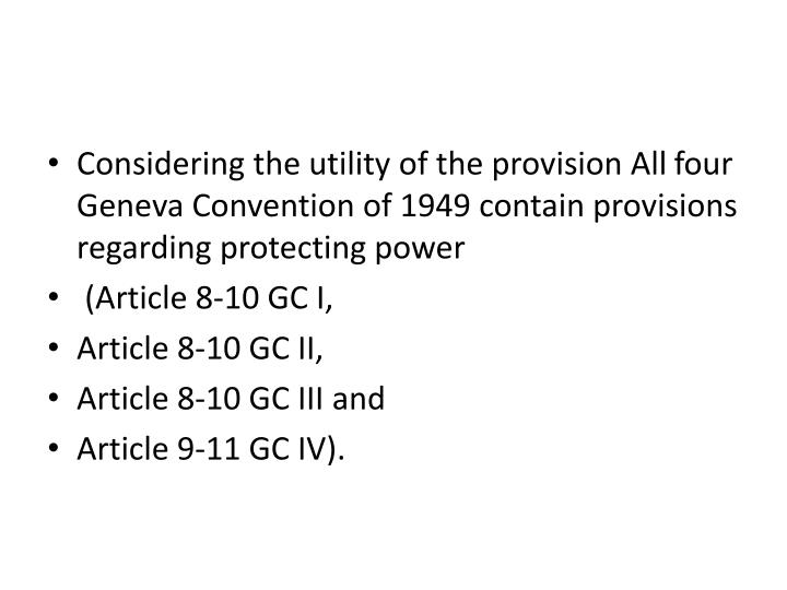Considering the utility of the provision All