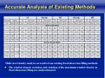 accurate analysis of existing methods
