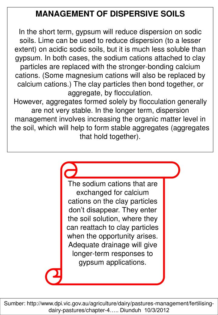 MANAGEMENT OF DISPERSIVE SOILS