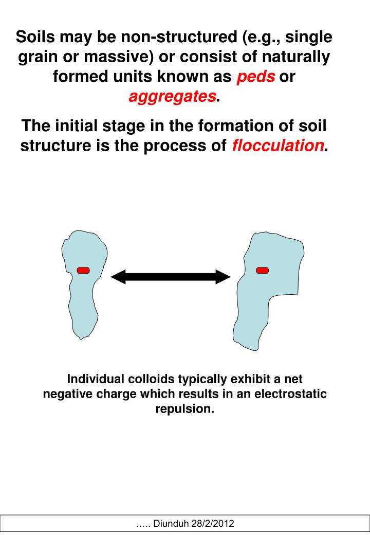 Soils may be non-structured (e.g., single grain or massive) or consist of naturally formed units known as
