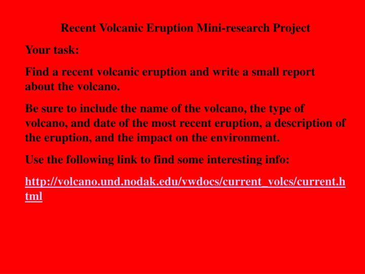 Recent Volcanic Eruption Mini-research Project