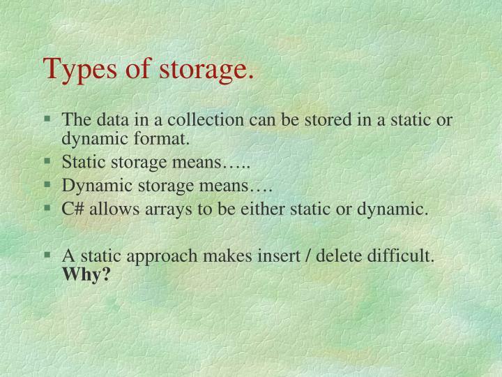 Types of storage.