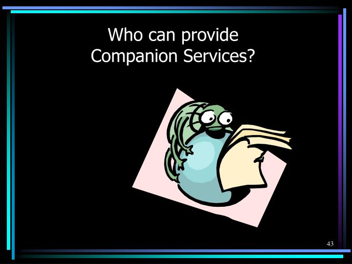 Who can provide Companion Services?