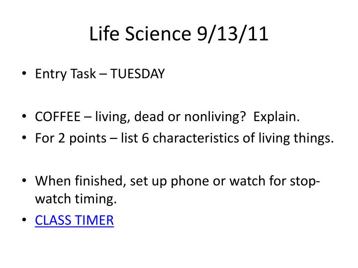 Life Science 9/13/11