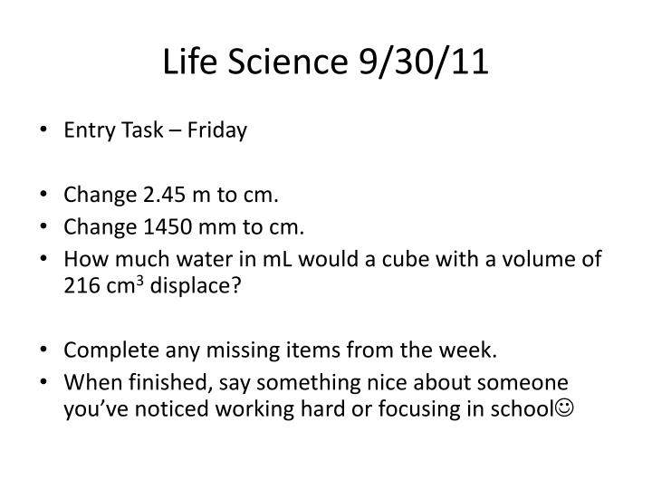 Life Science 9/30/11