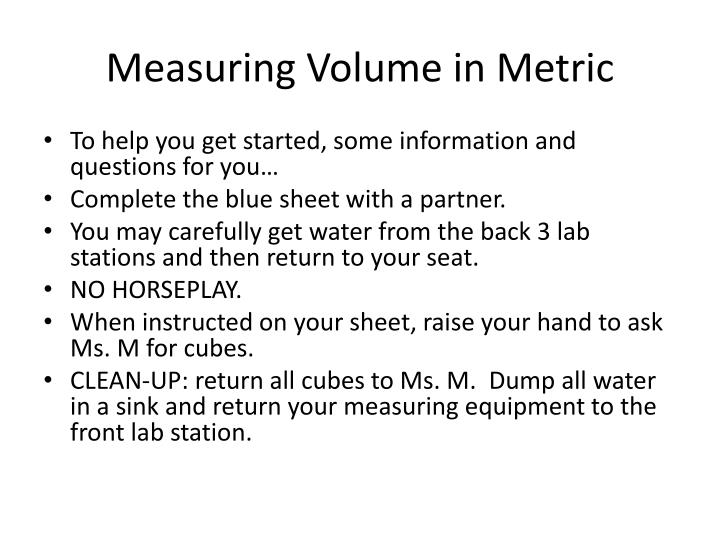Measuring Volume in Metric