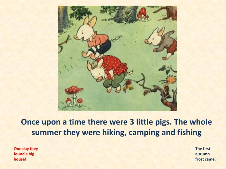 Once upon a time there were 3 little pigs the whole summer they were hiking camping and fishing