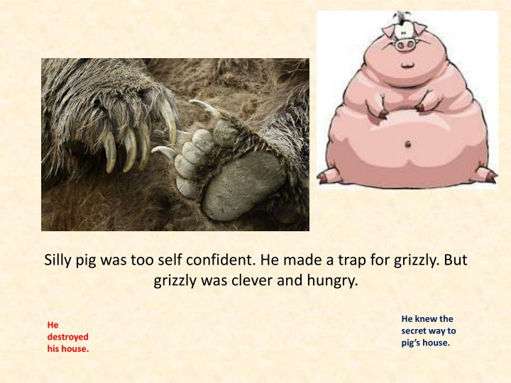 Silly pig was too self confident. He made a trap for grizzly. But grizzly was clever and hungry.