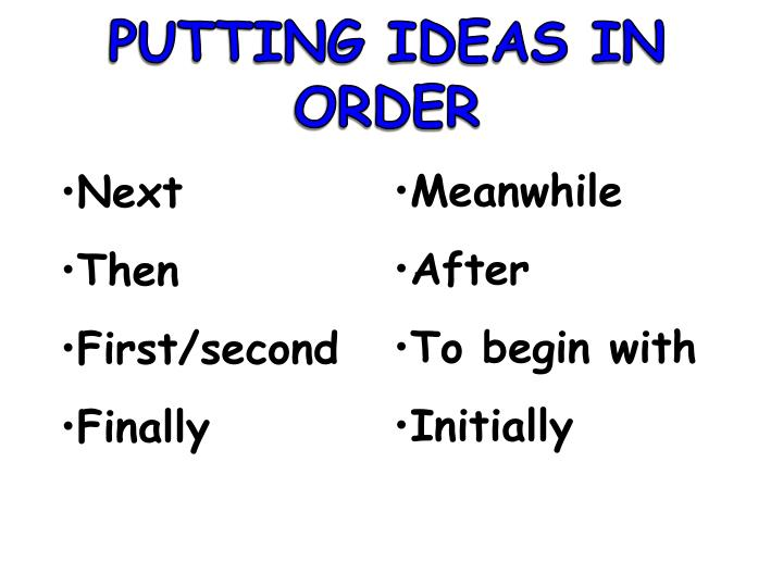 PUTTING IDEAS IN ORDER