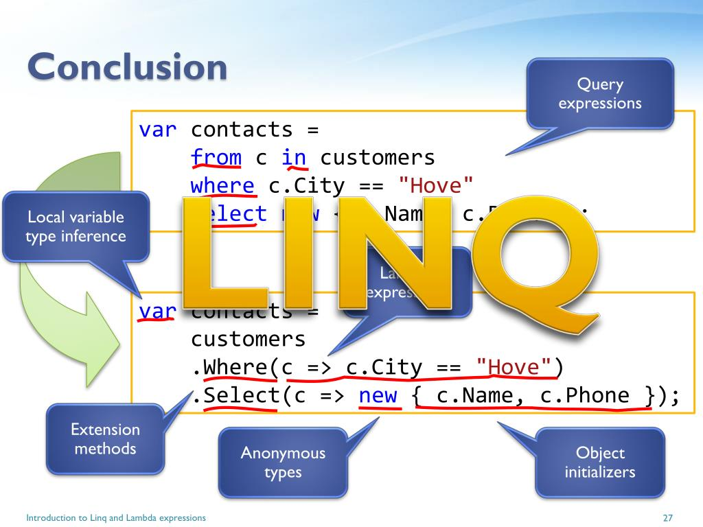 PPT - Introduction to Linq and Lambda expressions PowerPoint
