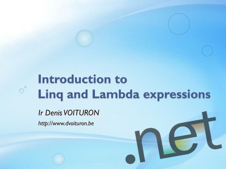 introduction to linq and lambda expressions n.