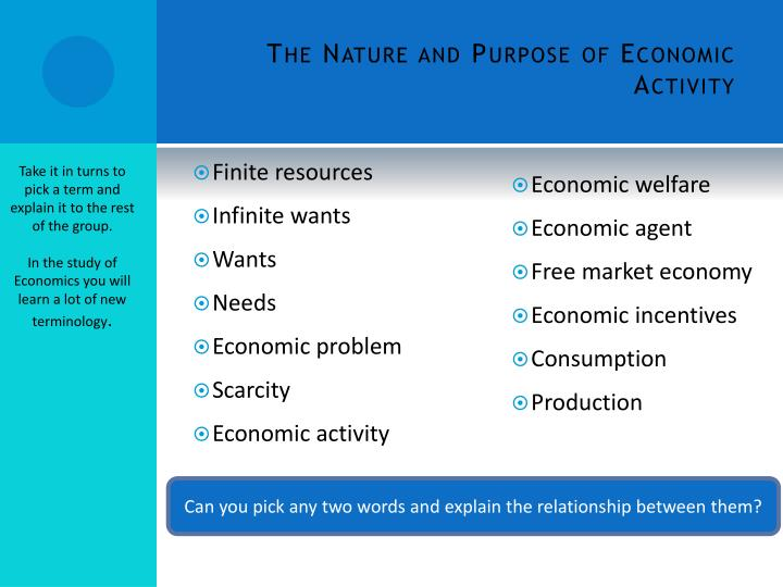 The Nature and Purpose of Economic Activity