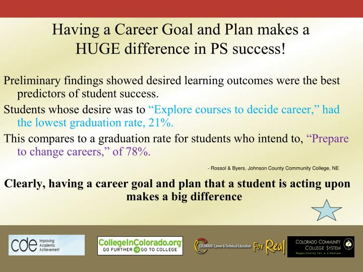 Having a Career Goal and Plan makes a HUGE difference in PS success!