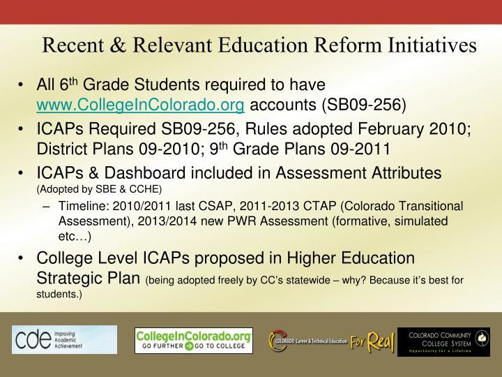 Recent & Relevant Education Reform Initiatives
