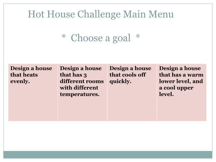 Hot House Challenge Main