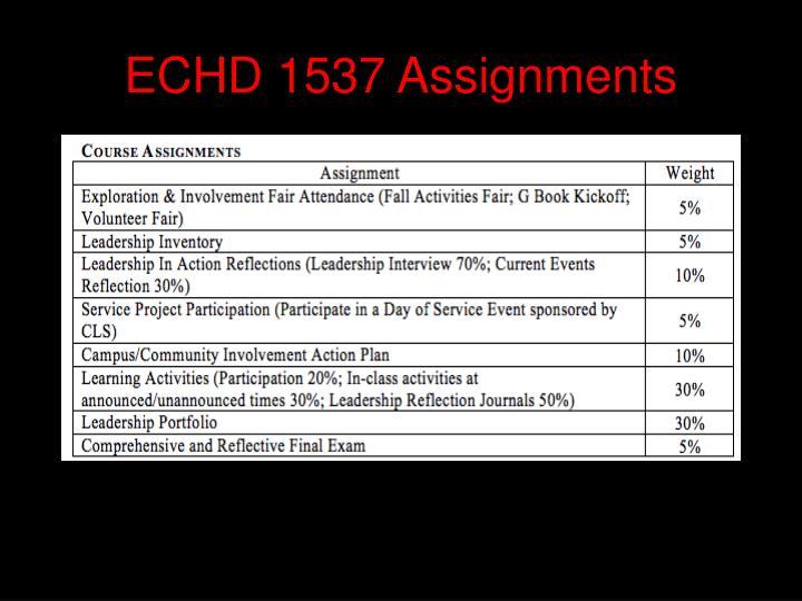 ECHD 1537 Assignments