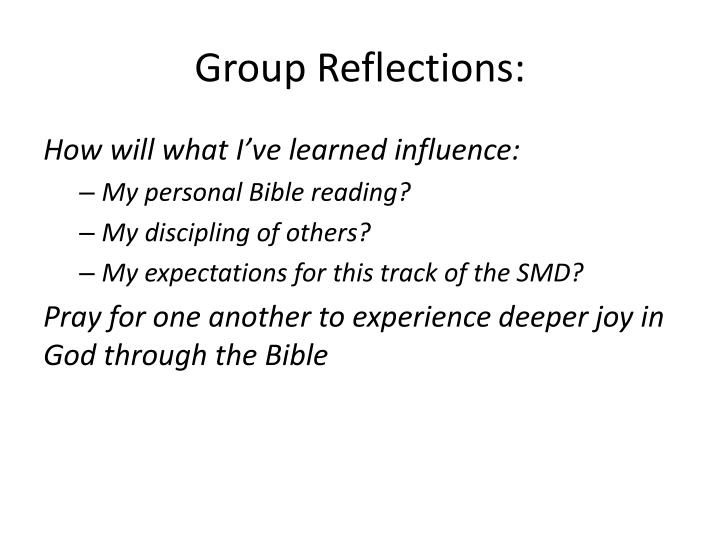 Group Reflections: