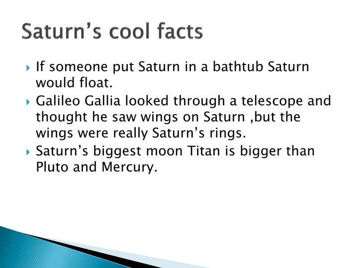 Saturn's cool facts
