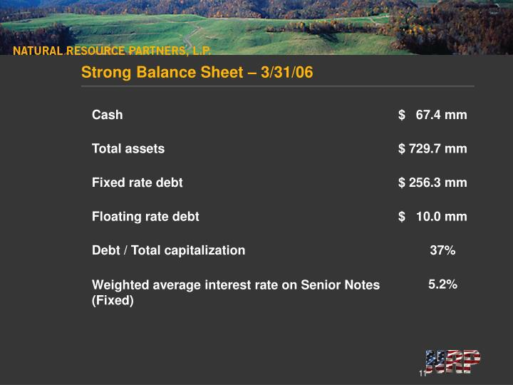 Strong Balance Sheet – 3/31/06