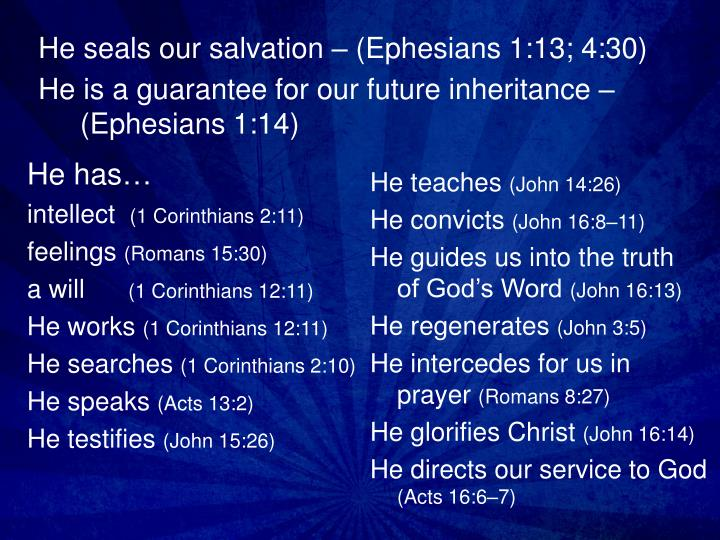 He is a guarantee for our future inheritance ephesians 1 14