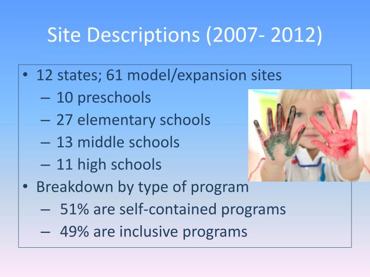 Site Descriptions (2007- 2012)