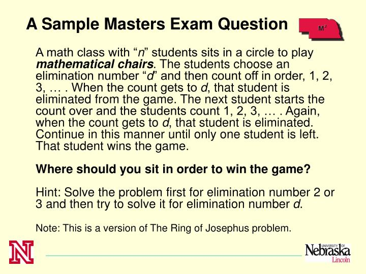 A Sample Masters Exam Question