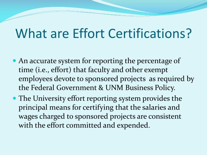 What are effort certifications
