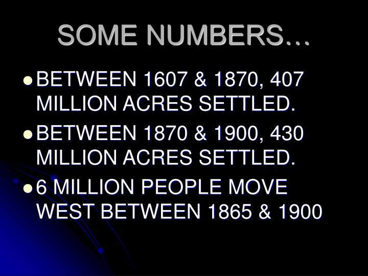 SOME NUMBERS…