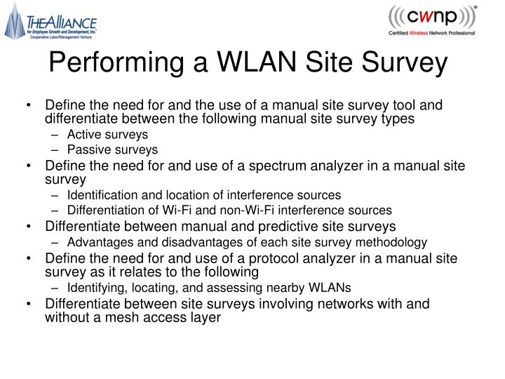 performing a wlan site survey n.