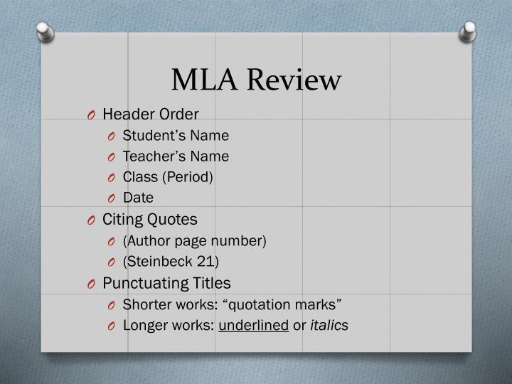 MLA Review