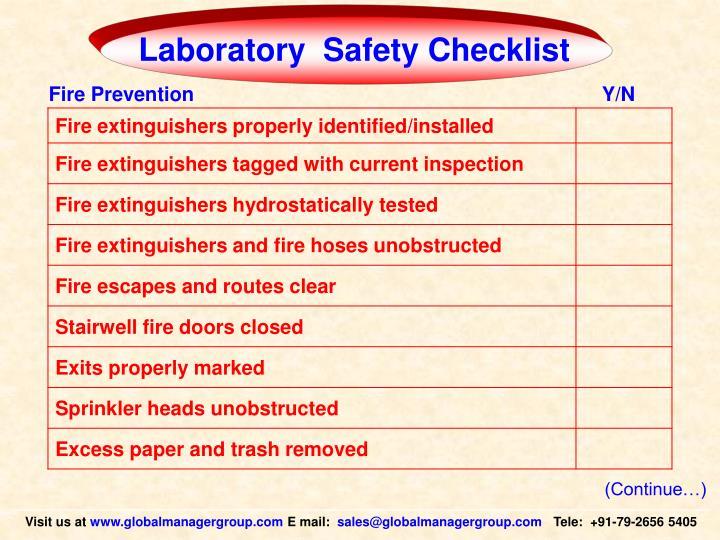 Laboratory  Safety Checklist