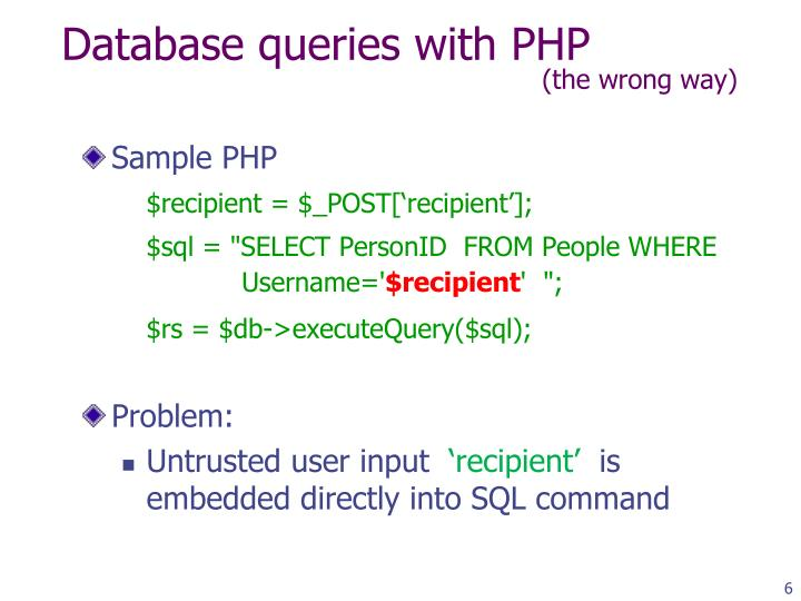 Database queries with PHP