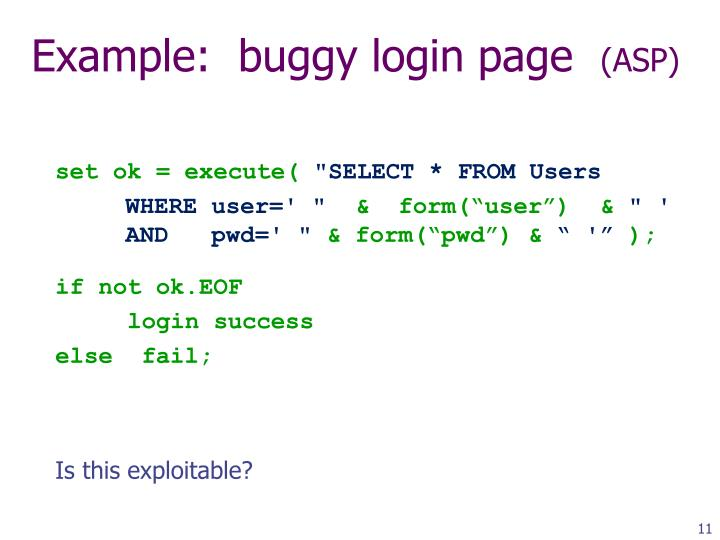 Example:  buggy login page