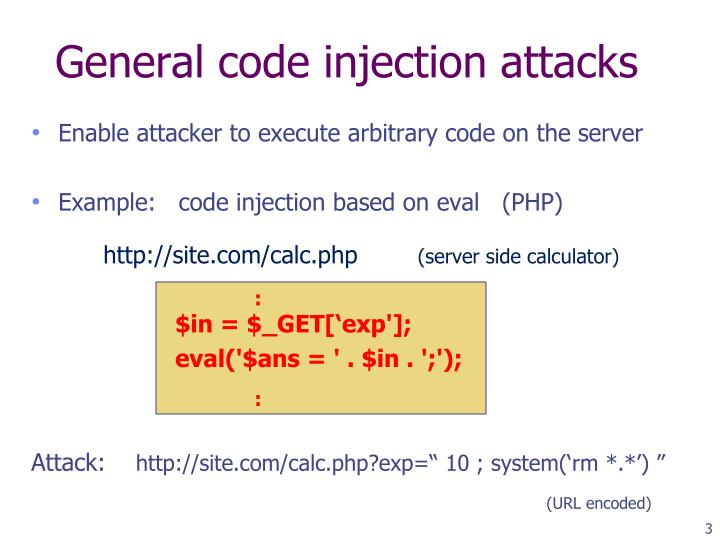 General code injection attacks