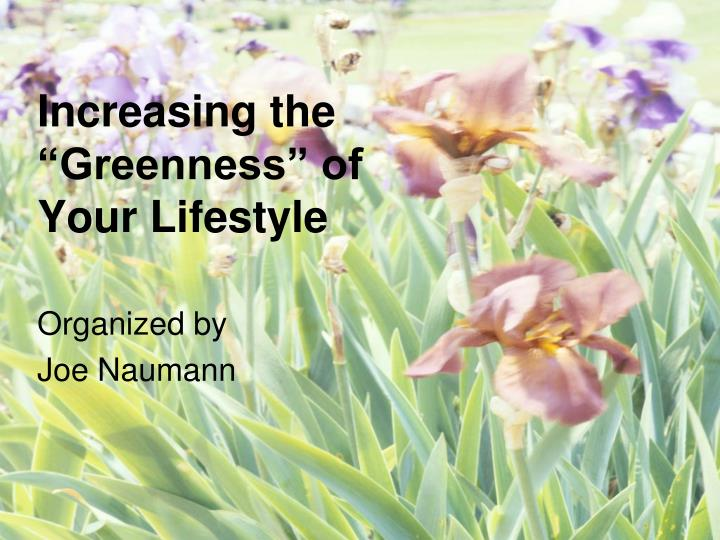 Increasing the greenness of your lifestyle