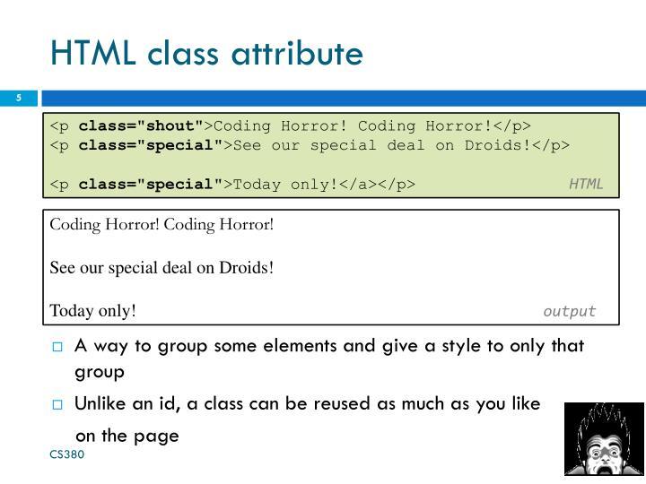 HTML class attribute