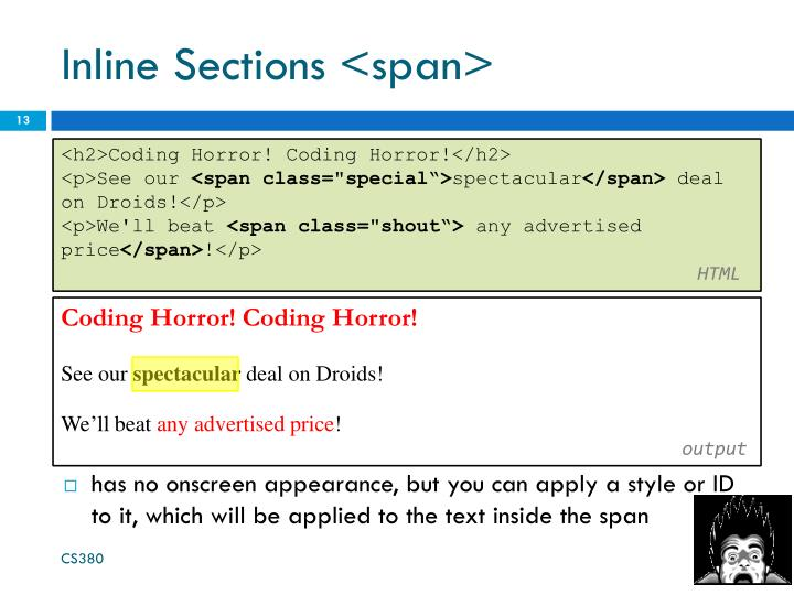 Inline Sections <span>