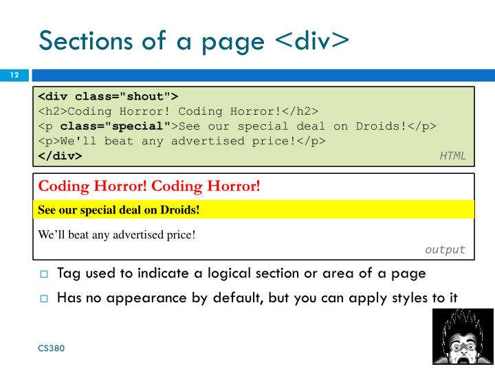 Sections of a page <div>